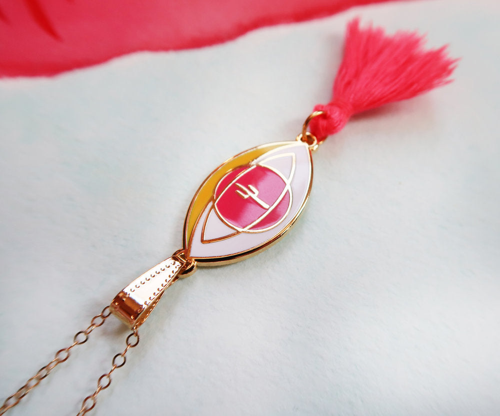 """Eye of the Desert"" Pink Tassel Pendant Necklace"