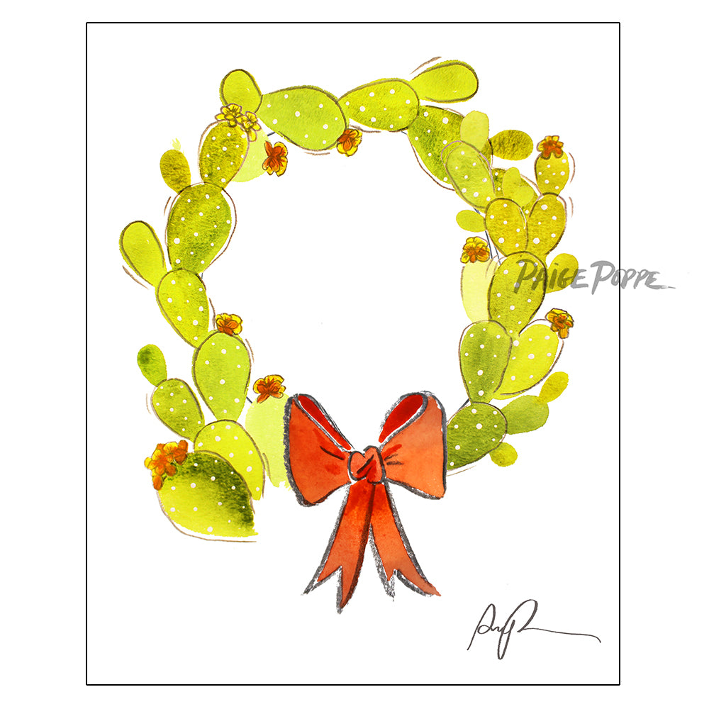 """Cacti Wreath"" Holiday Art Print"