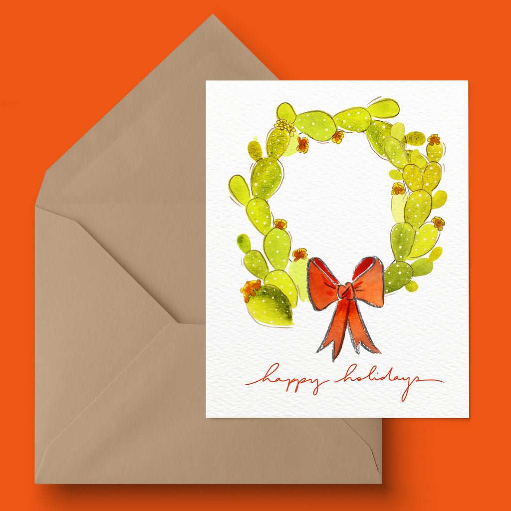 """Cacti Wreath With Text"" Holiday Card"