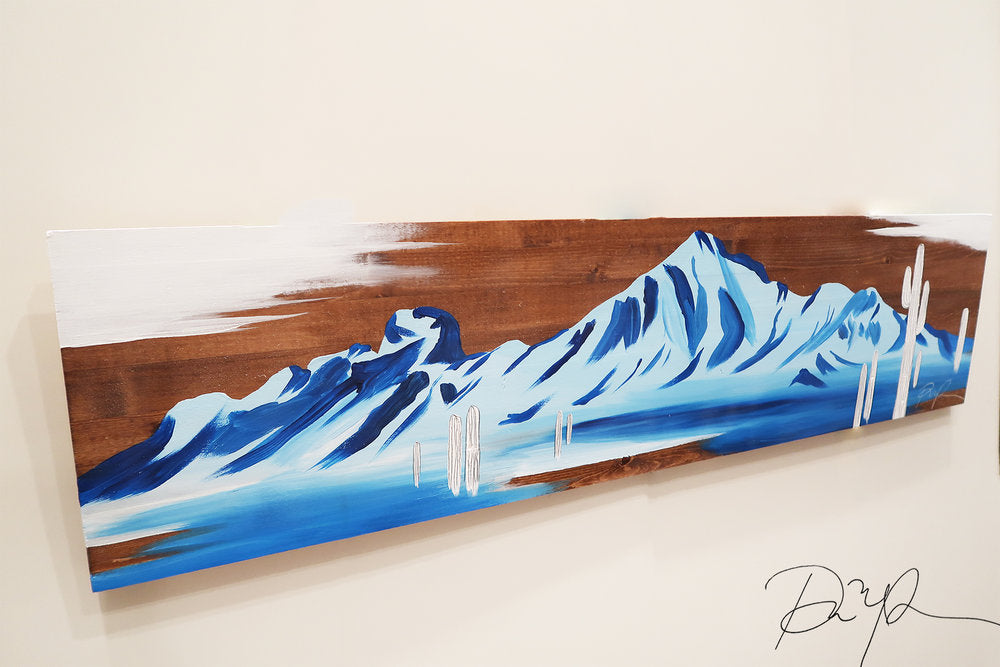 """Camelback in Bleu"" Original Acrylic on Wood"