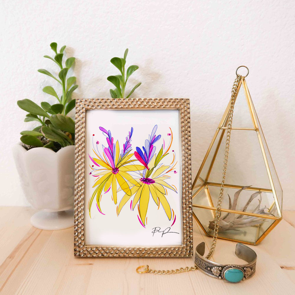 """Dancing Blooms"" Watercolor Illustration Print"