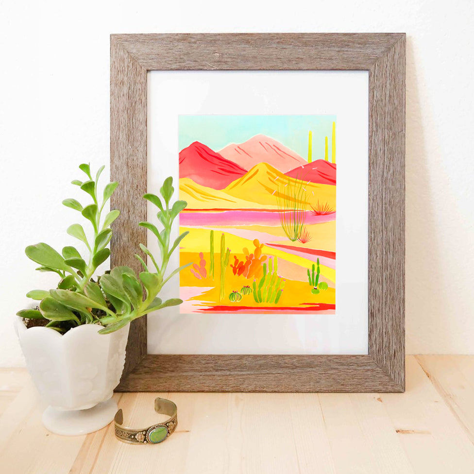 """Desert Vibrance"" Watercolor Print"