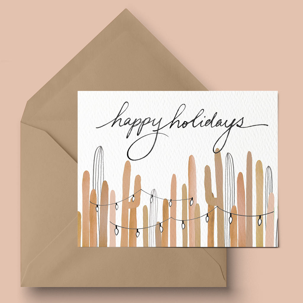 """Earthy Saguaro Lights"" Greeting Card"