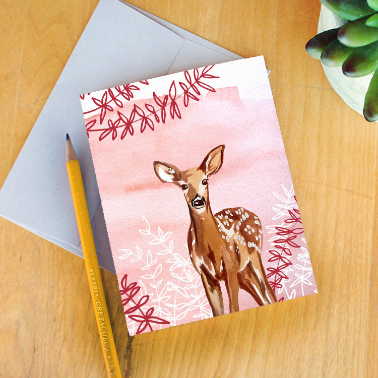 """Fawn in the Foliage"" Greeting Card"