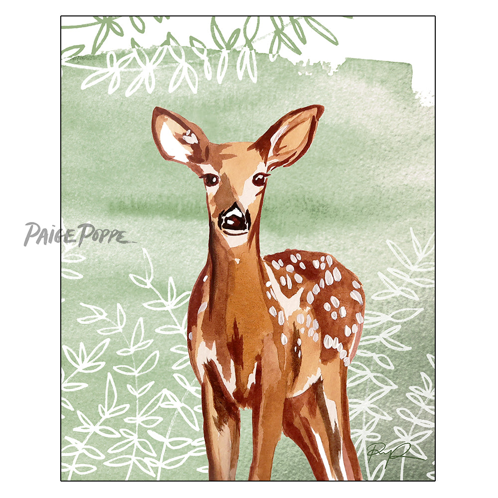 """Forest Fawn"" Watercolor Art Print"