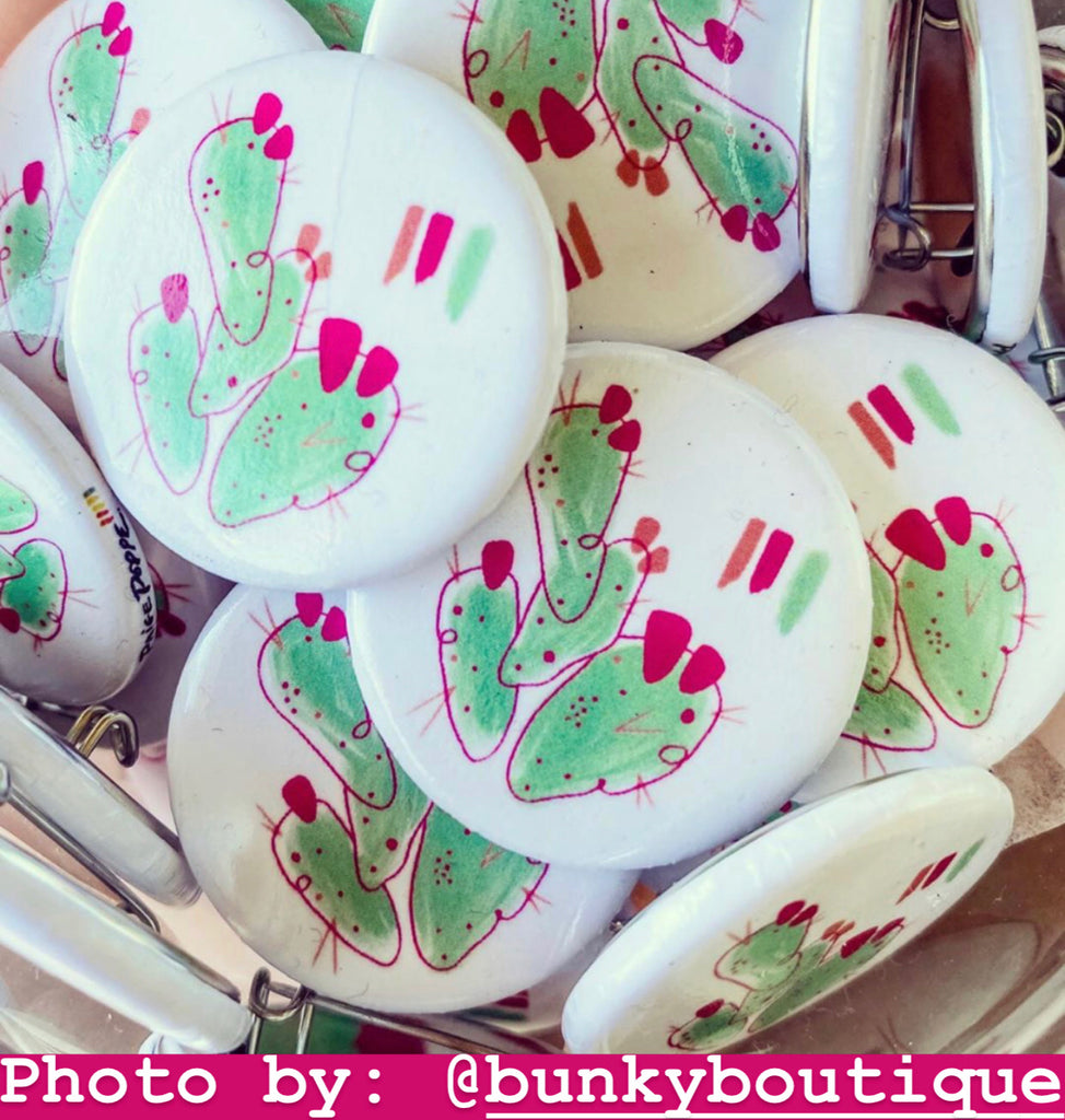 """Prickly Pop"" Watercolor Button"