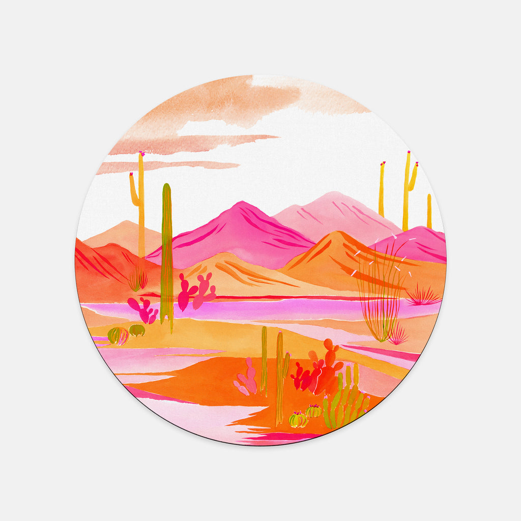 """Groovy Sunset"" Round Mousepad"