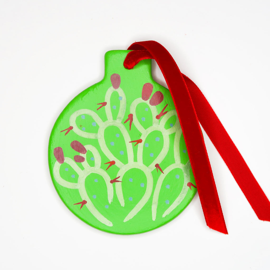 """Festive Prickly"" Handpainted Ceramic Ornament"