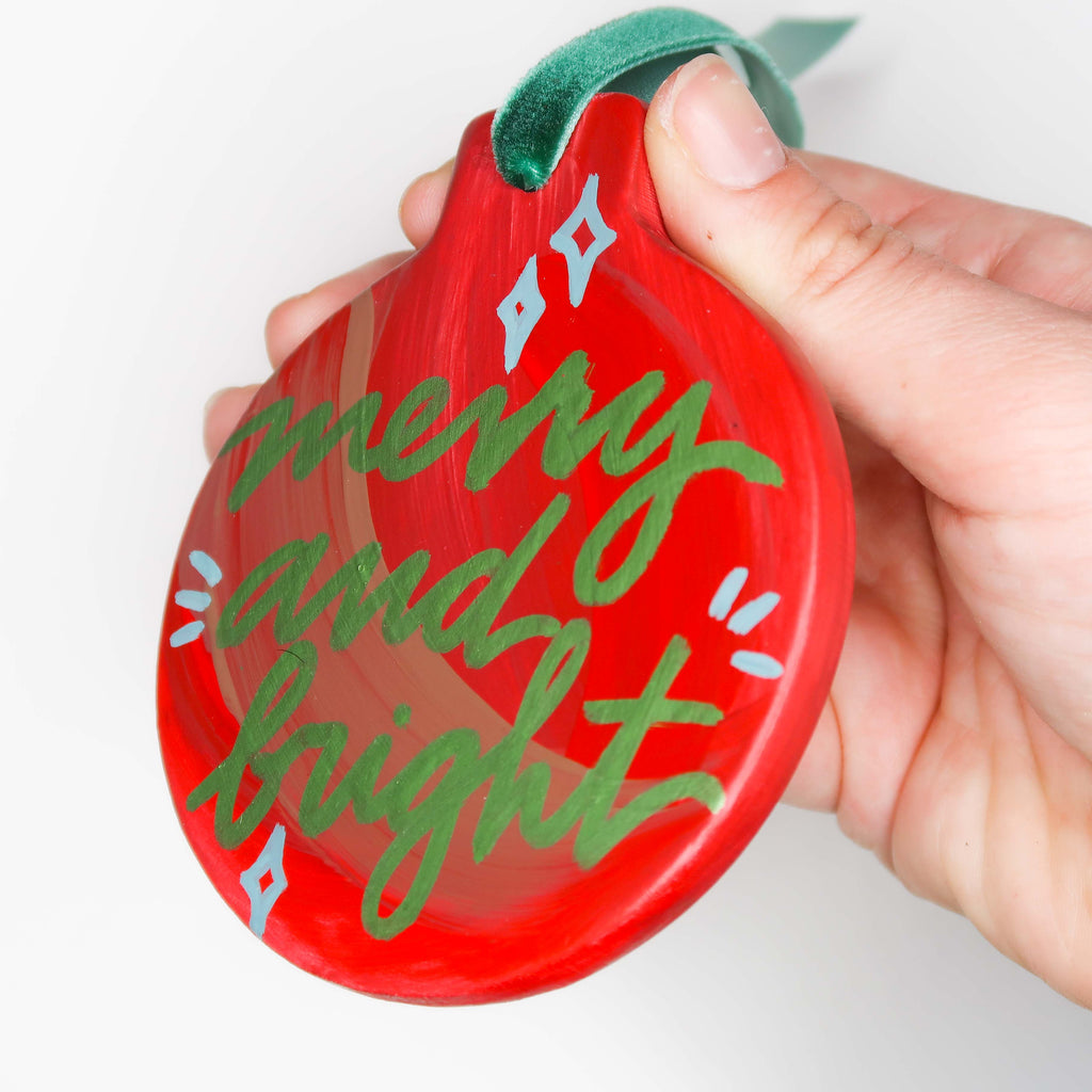"""Merry and Bright"" Handpainted Ceramic Ornament"