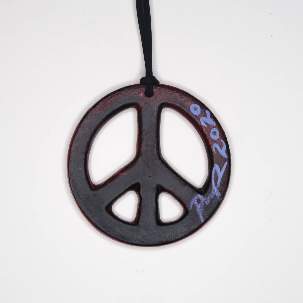 """Midnight Saguaro"" Handpainted Ceramic Peace Sign Ornament"