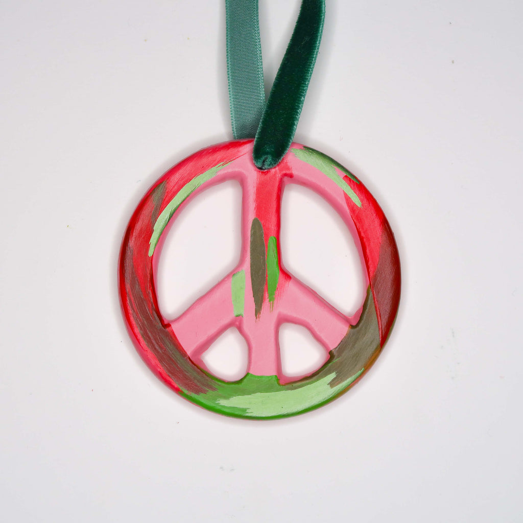 """Festive Days Ahead"" Handpainted Ceramic Peace Sign Ornament"