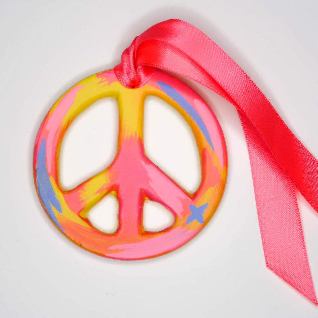 """Vibrant Sunset"" Handpainted Ceramic Peace Sign Ornament"