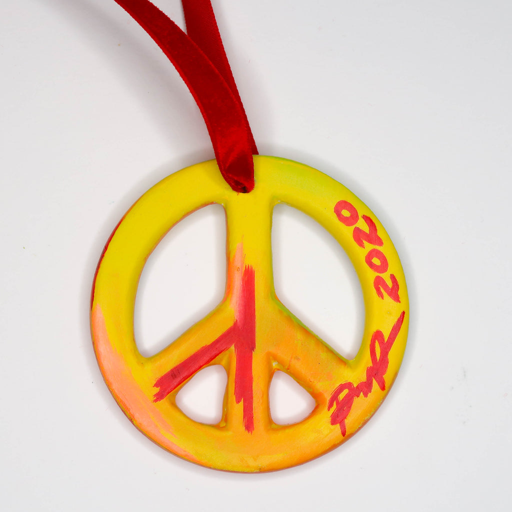 """Technicolor Desert"" Handpainted Ceramic Peace Sign Ornament"