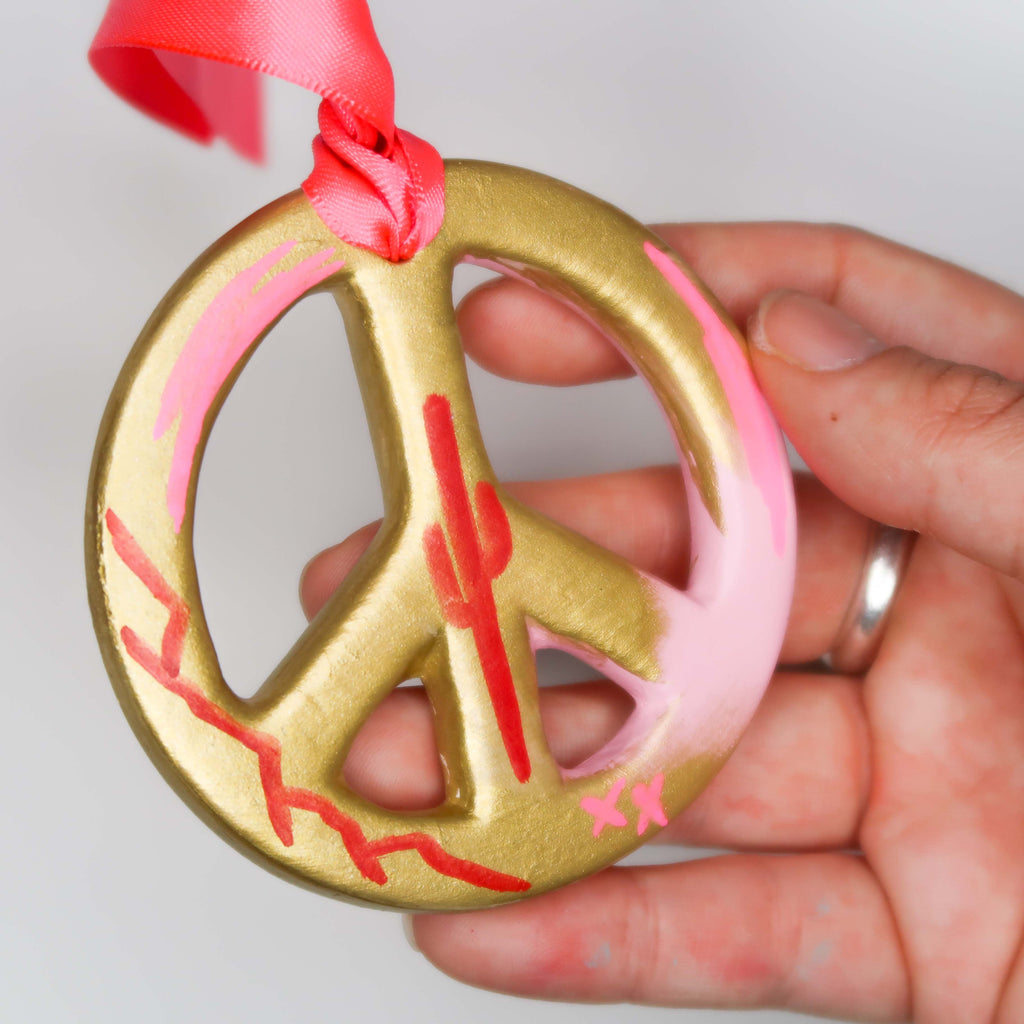 """Golden Desert"" Handpainted Ceramic Peace Sign Ornament"