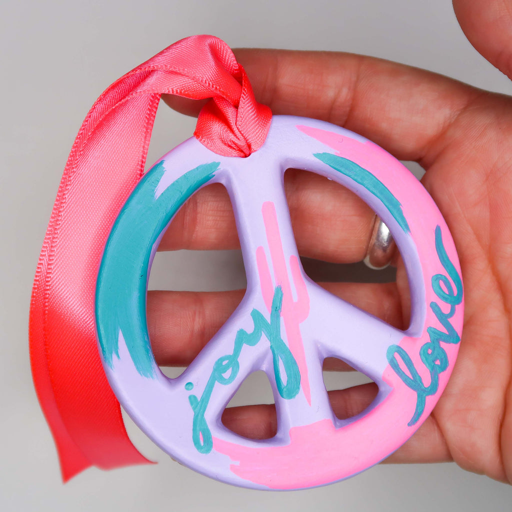 """Love & Joy"" Handpainted Ceramic Peace Sign Ornament"