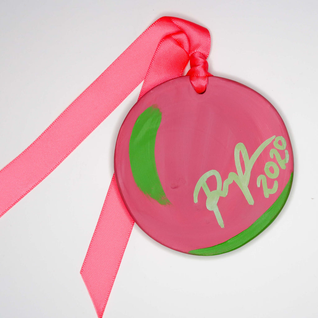 """Christmas Cactus"" Handpainted Ceramic Ornament"