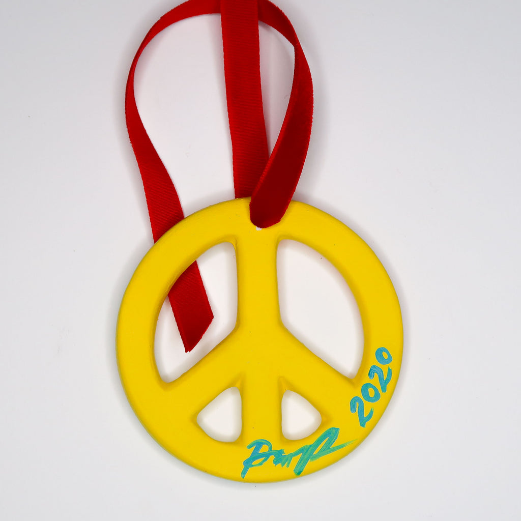 """Technicolor Swatches"" Handpainted Ceramic Peace Sign Ornament"