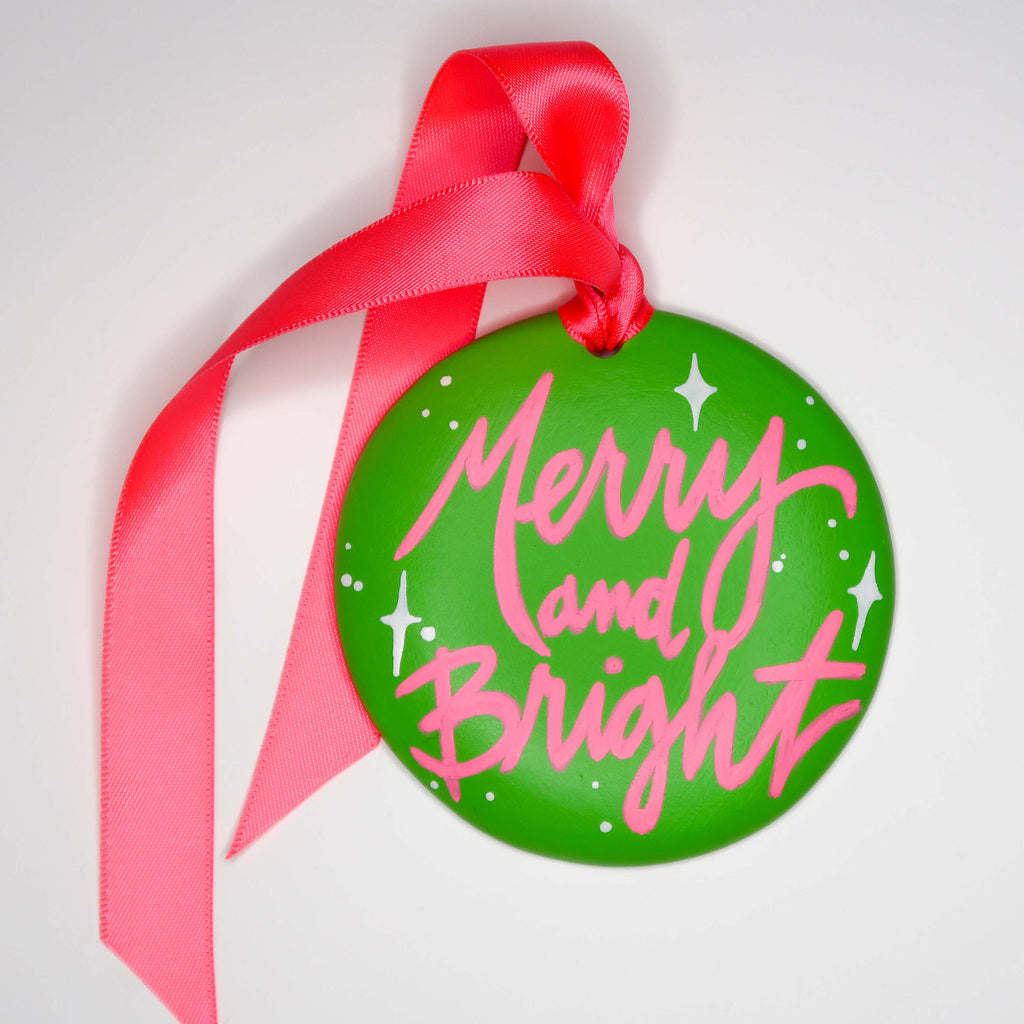 """Merry and Bright 3"" Handpainted Ceramic Ornament"