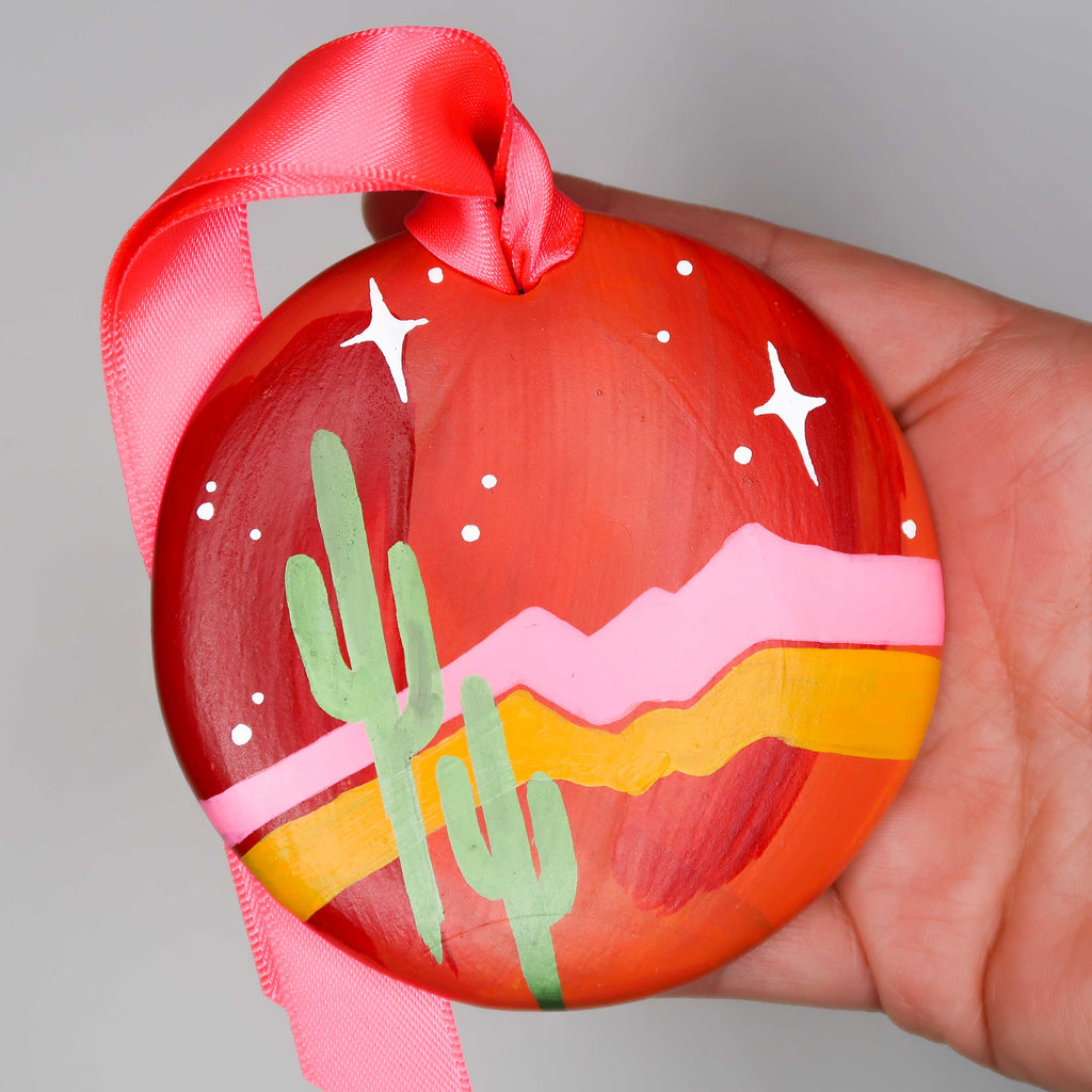 """Sunset Saguaros"" Handpainted Ceramic Ornament"