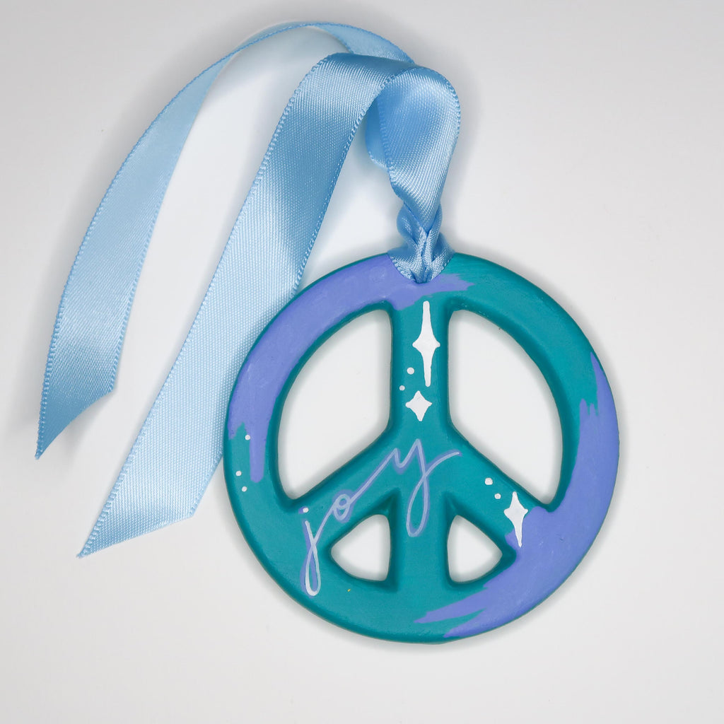 """Joy at Twilight"" Handpainted Ceramic Peace Sign Ornament"