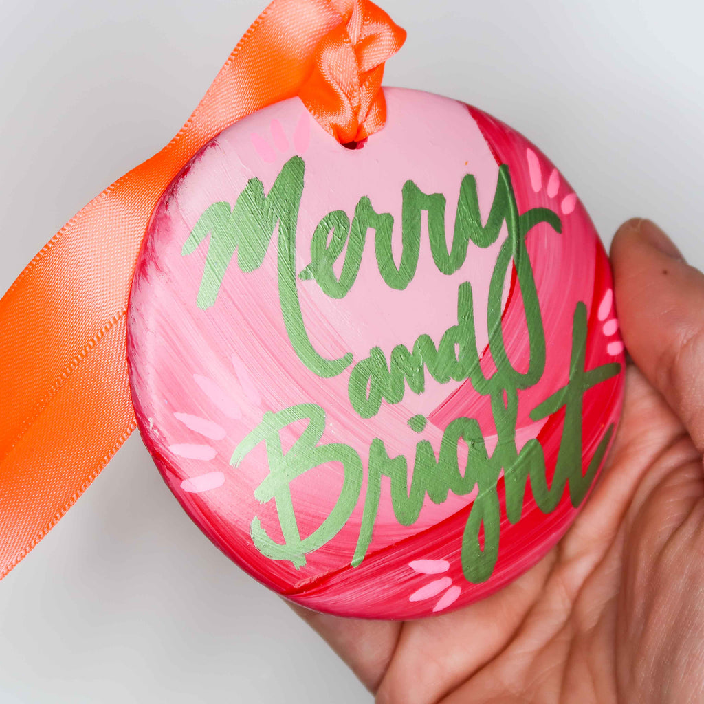 """Merry and Bright 4"" Handpainted Ceramic Ornament"