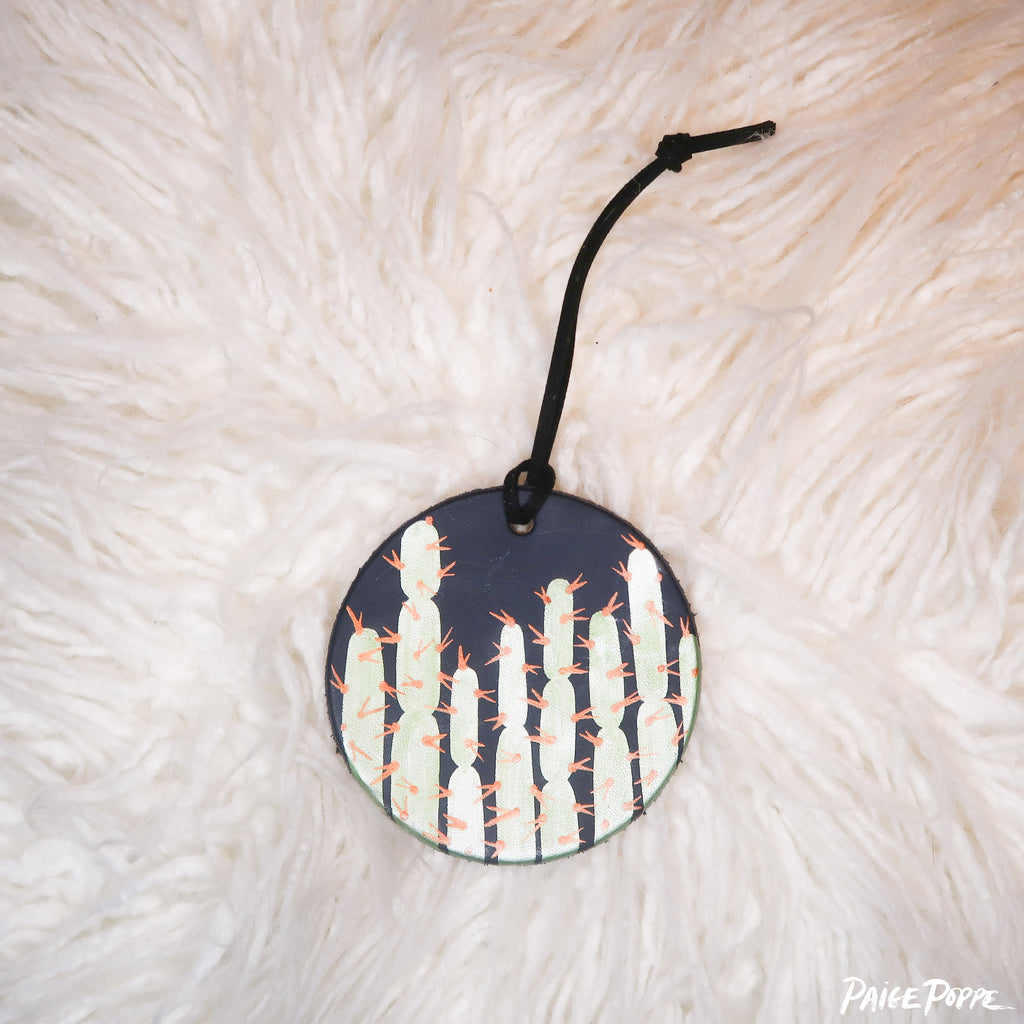 """Shining Cacti"" Handpainted Leather Ornament"