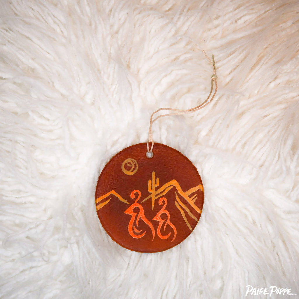 """Dashing Duo"" Handpainted Leather Ornament"