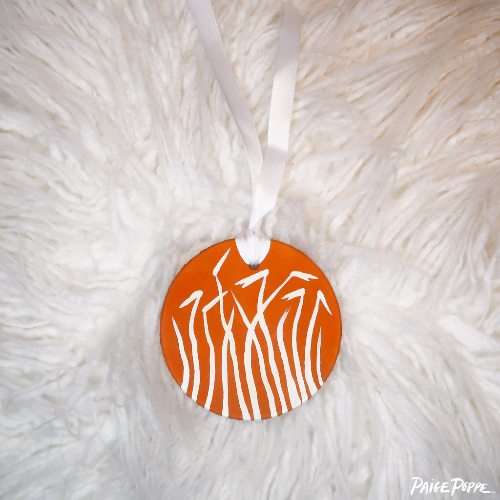 """Ocotillo Bright"" Handpainted Leather Ornament"