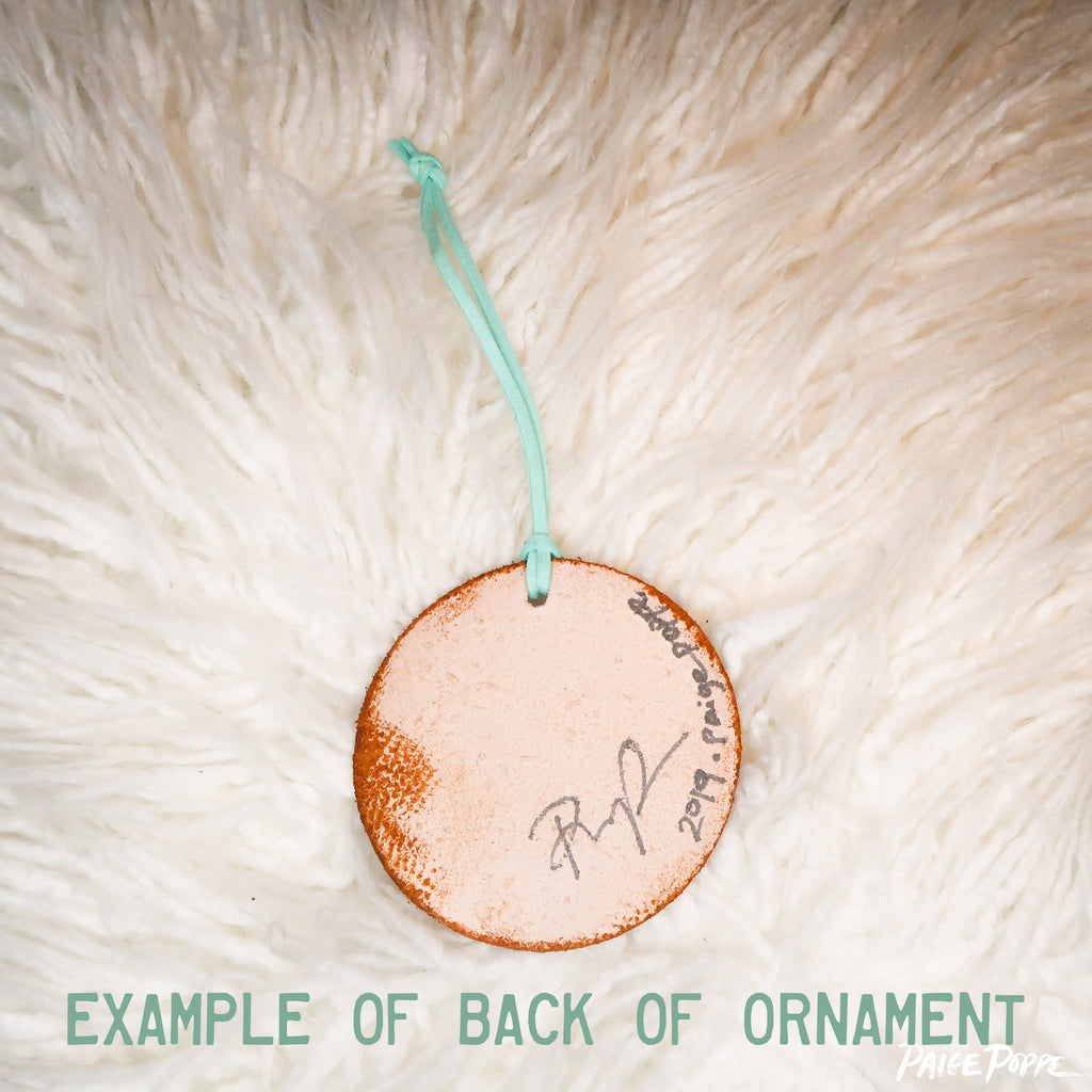 """Follow Your Bliss"" Handpainted Leather Ornament"