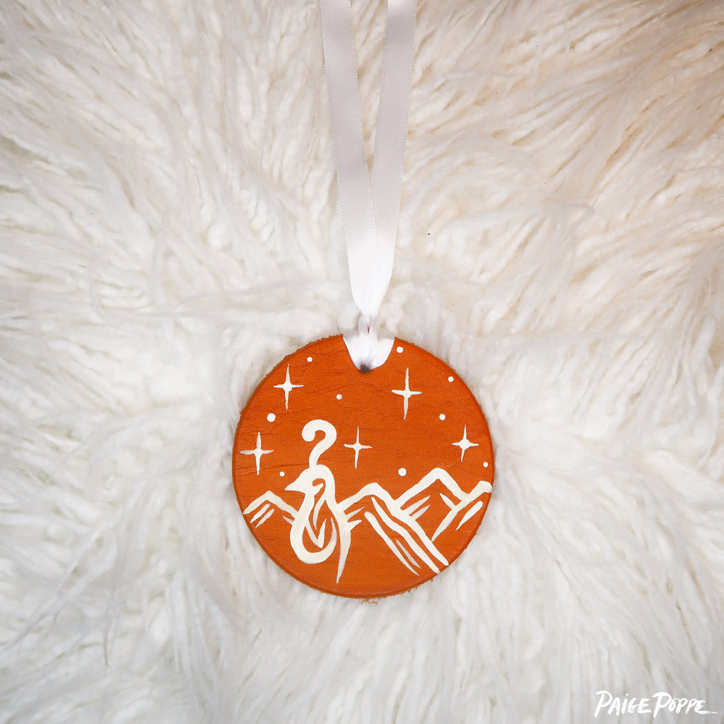 """Quail Bright"" Handpainted Leather Ornament"