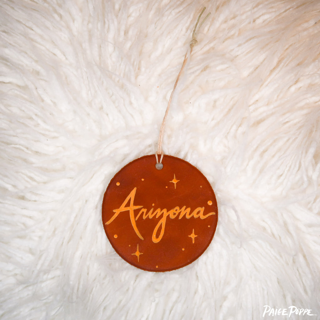 """Arizona"" Handpainted Leather Ornament"