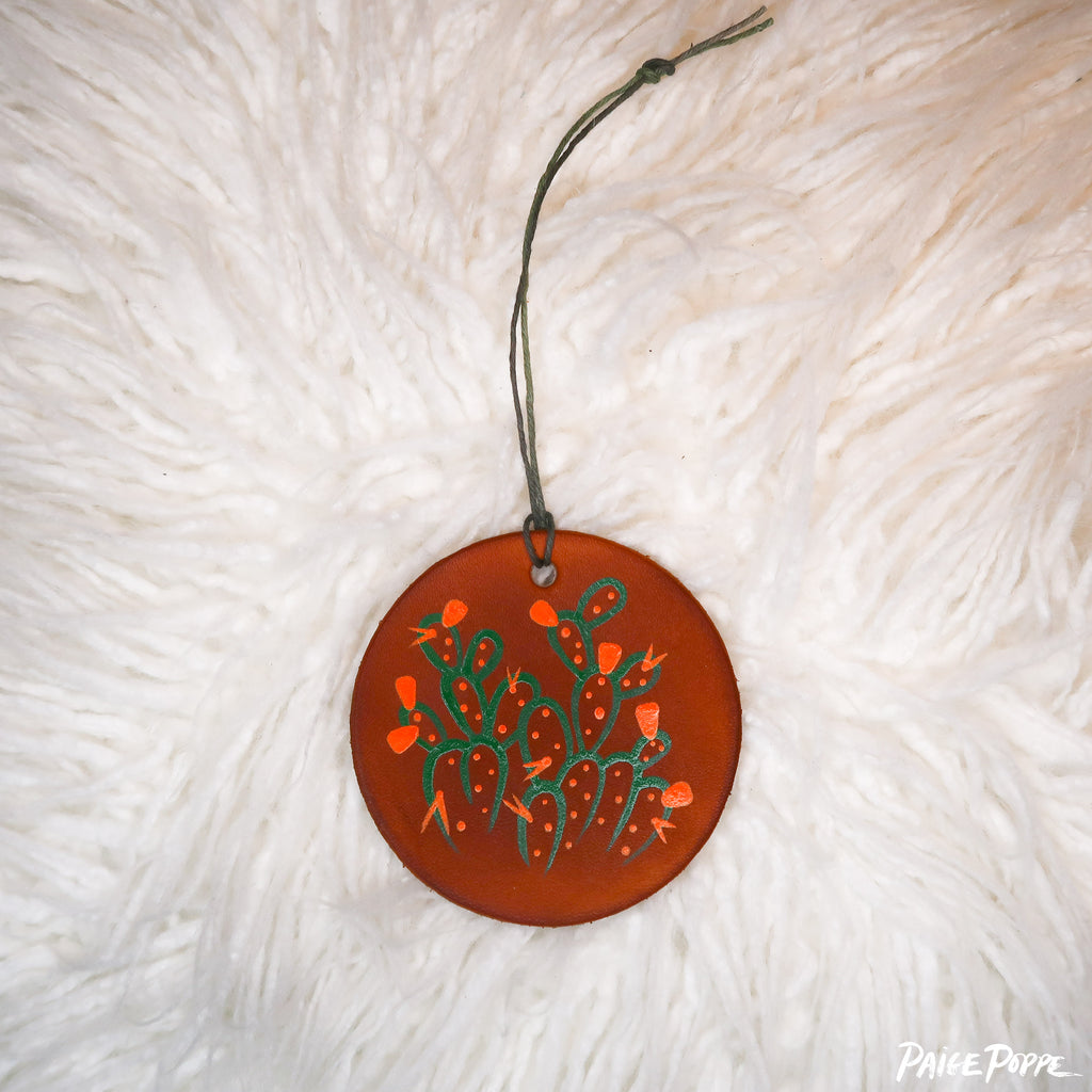 """Prickly Pear Flourishes"" Handpainted Leather Ornament"