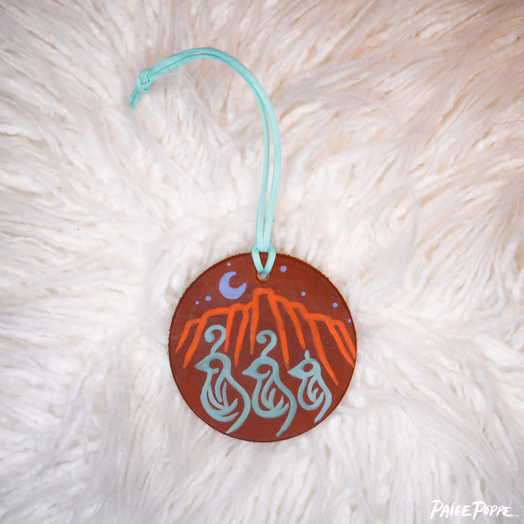"""Quail Dancing by Moonlight"" Handpainted Leather Ornament"