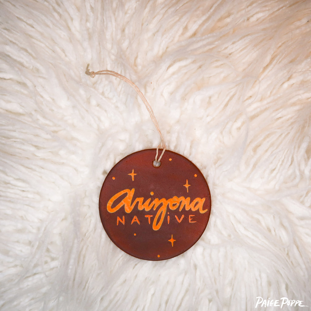 """Arizona Native"" Handpainted Leather Ornament"