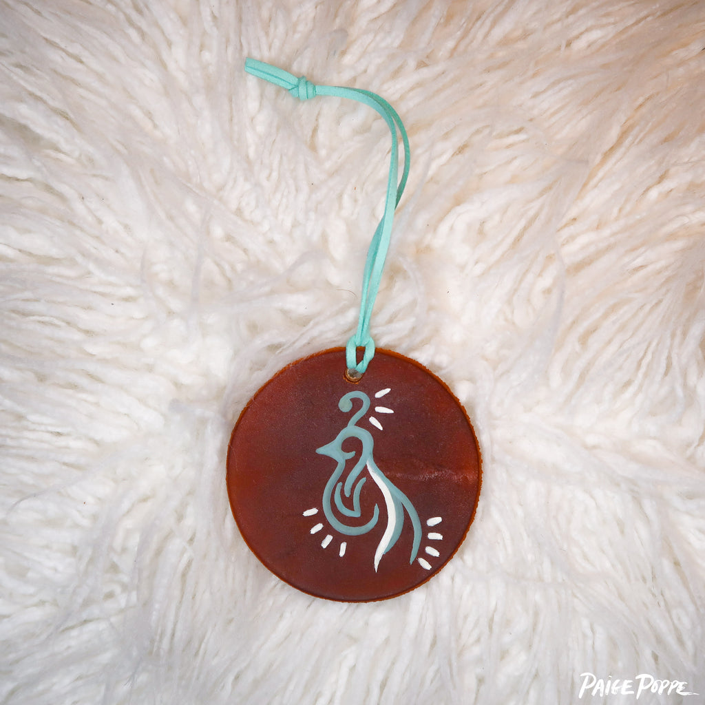 """Glowing Quail"" Handpainted Leather Ornament"