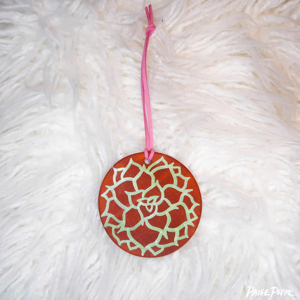 """Desert Succulent"" Handpainted Leather Ornament"