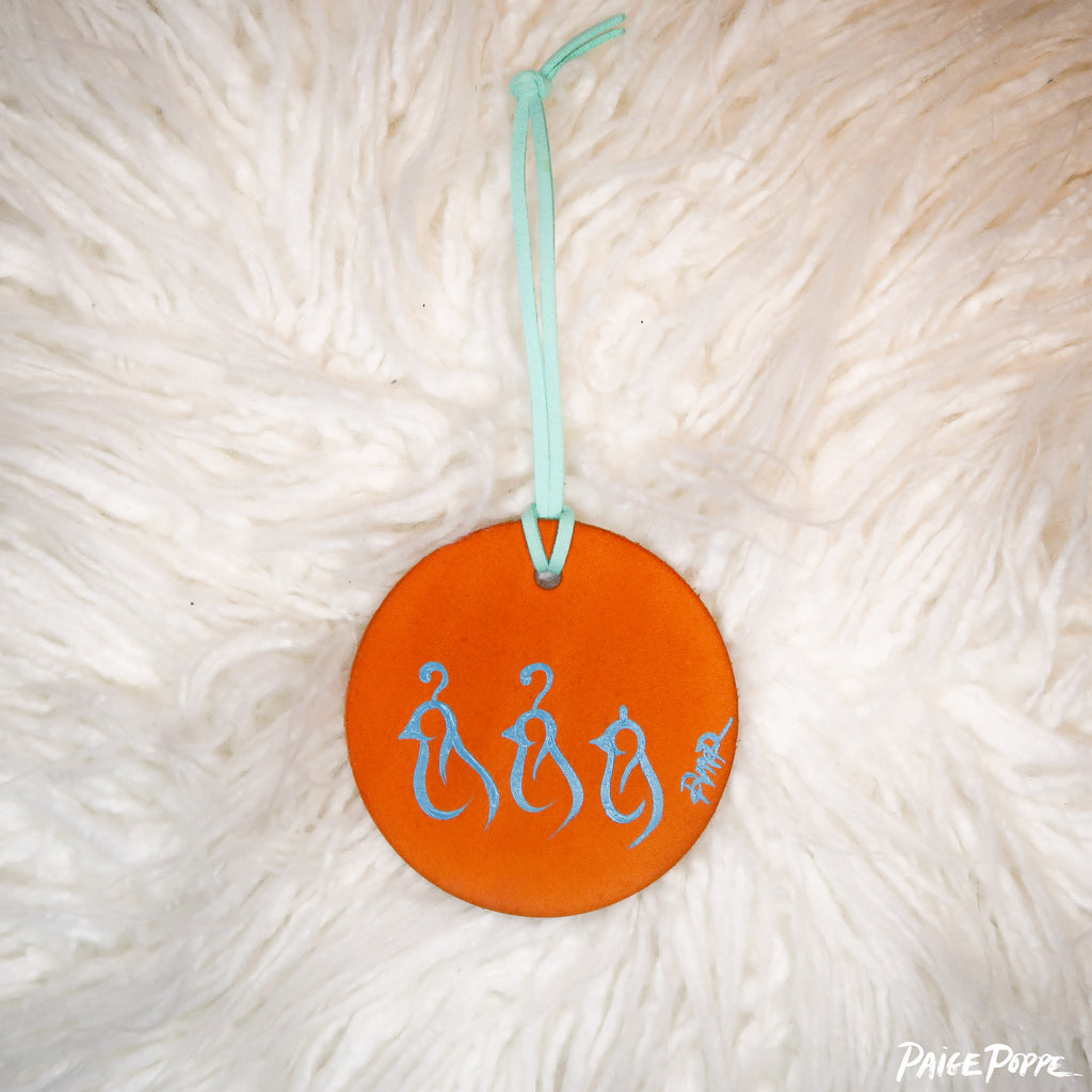 """Quail Family"" Handpainted Leather Ornament"