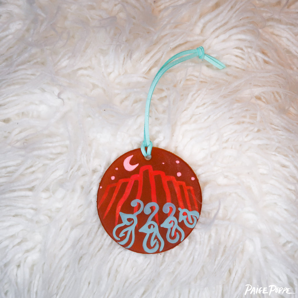 """Moonlight Wanderers"" Handpainted Leather Ornament"