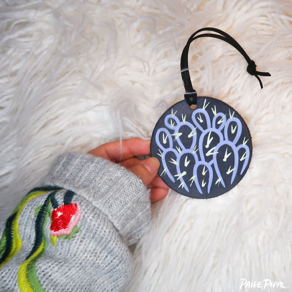 """Lavender Prickly at Moonlight"" Handpainted Leather Ornament"