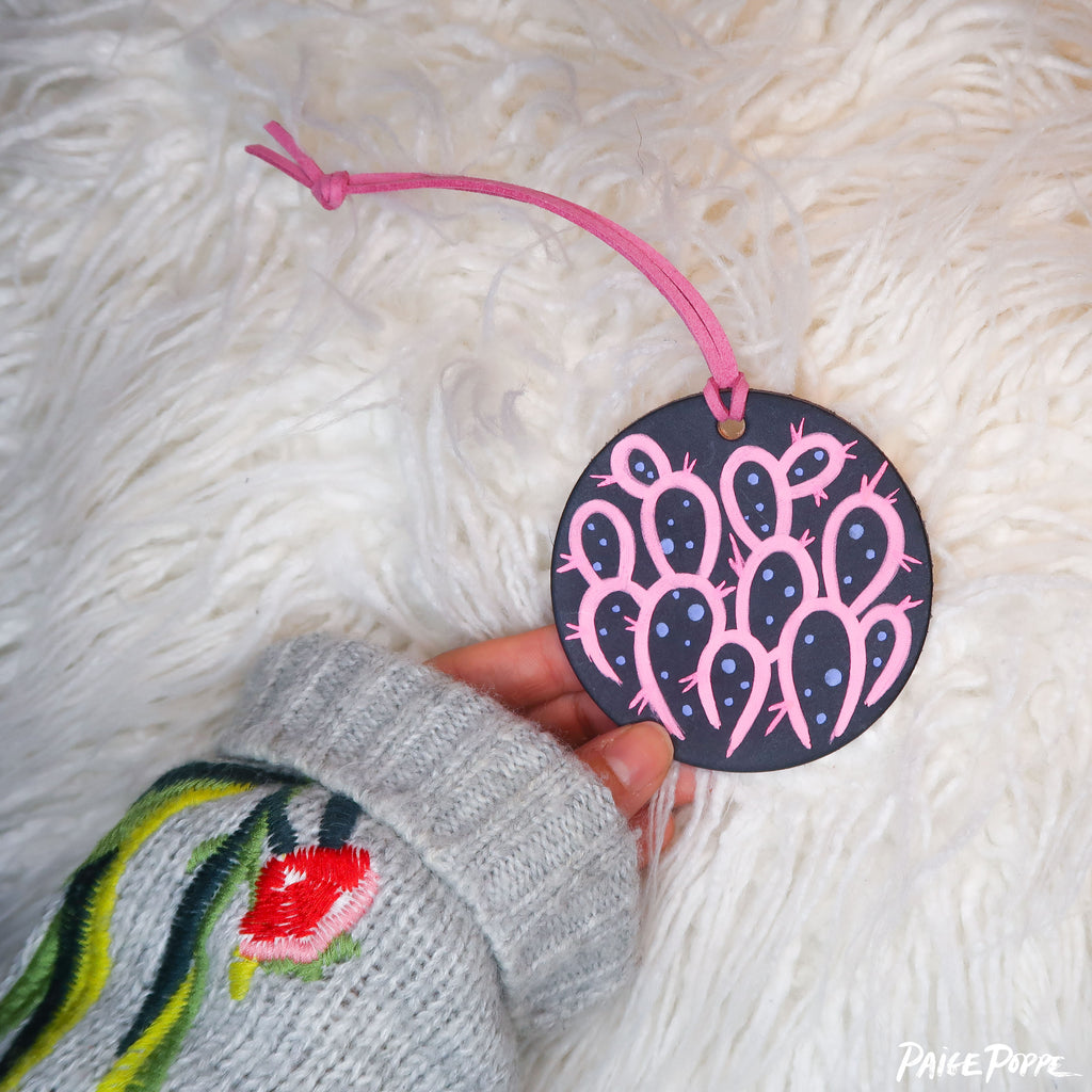 """Rose Prickly at Moonlight"" Handpainted Leather Ornament"