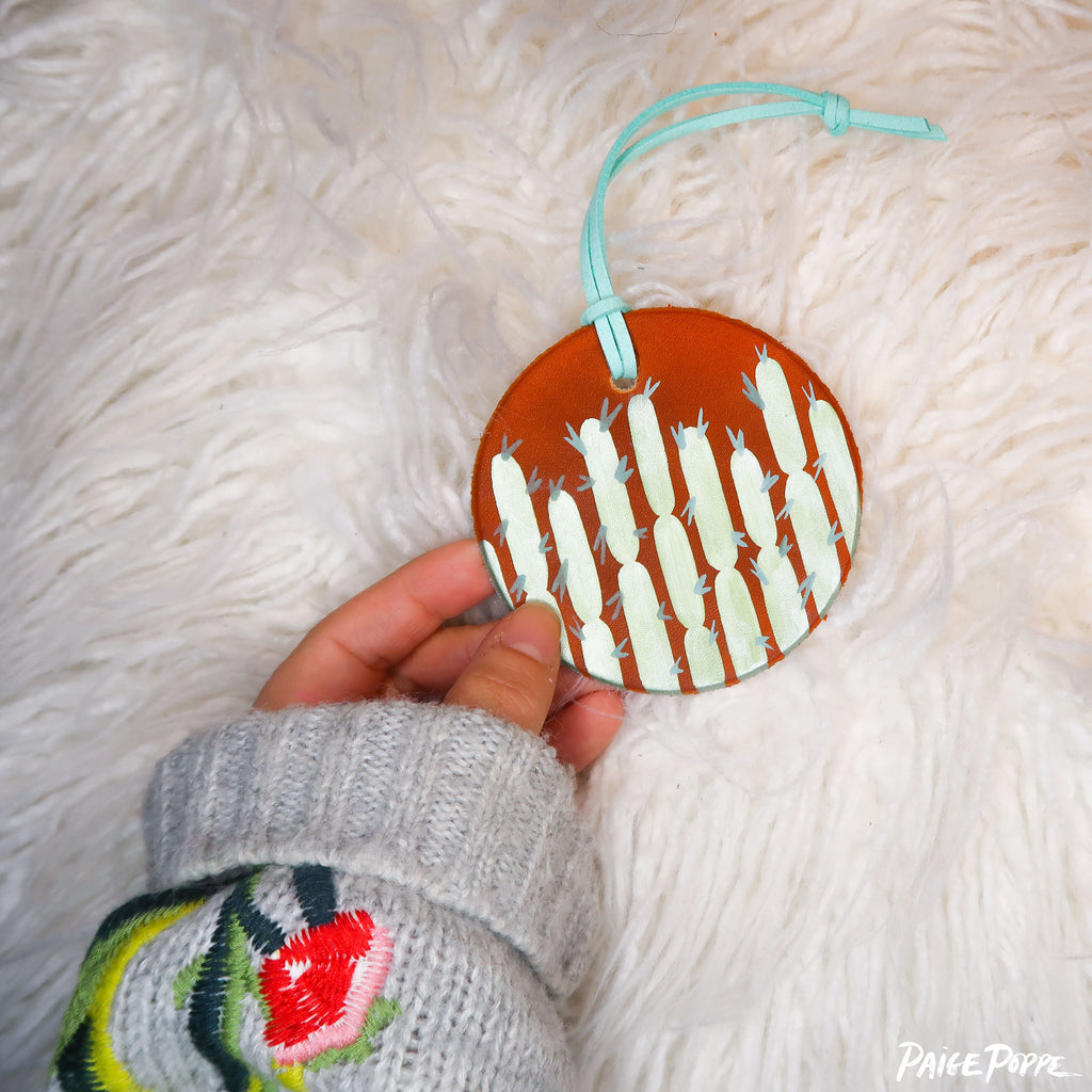 """Glowing Cacti"" Handpainted Leather Ornament"