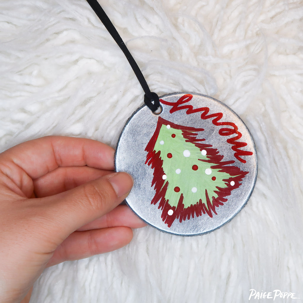 """Very Merry"" Handpainted Leather Ornament"