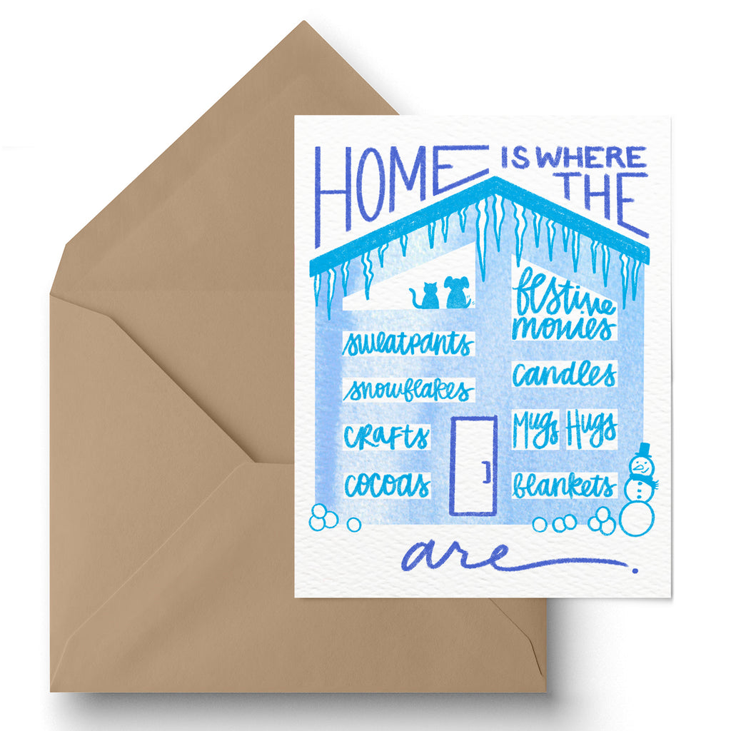 "1 LEFT! - ""Home Is"" Winter Greeting Card"