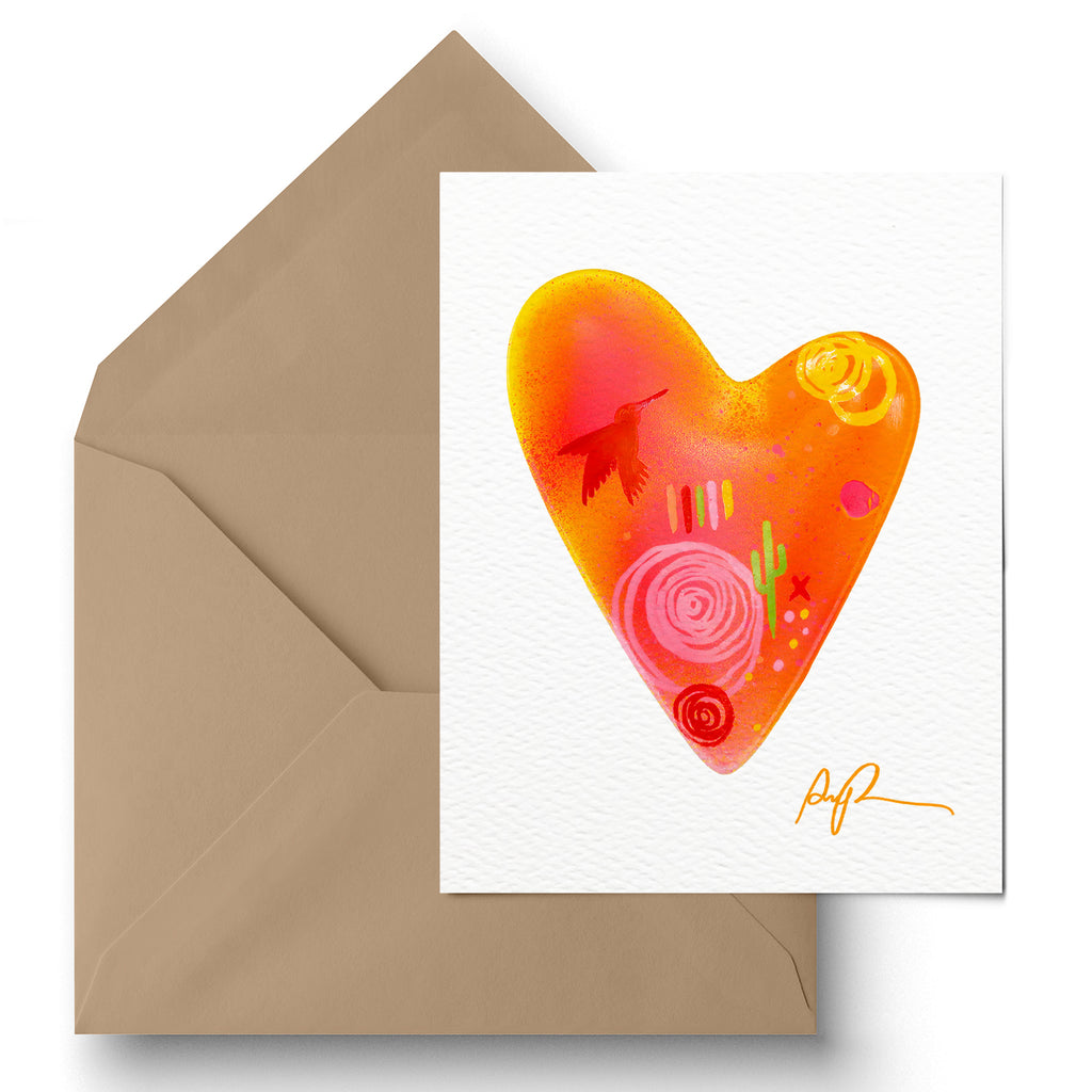 """Hummingbird Heart"" Greeting Card"