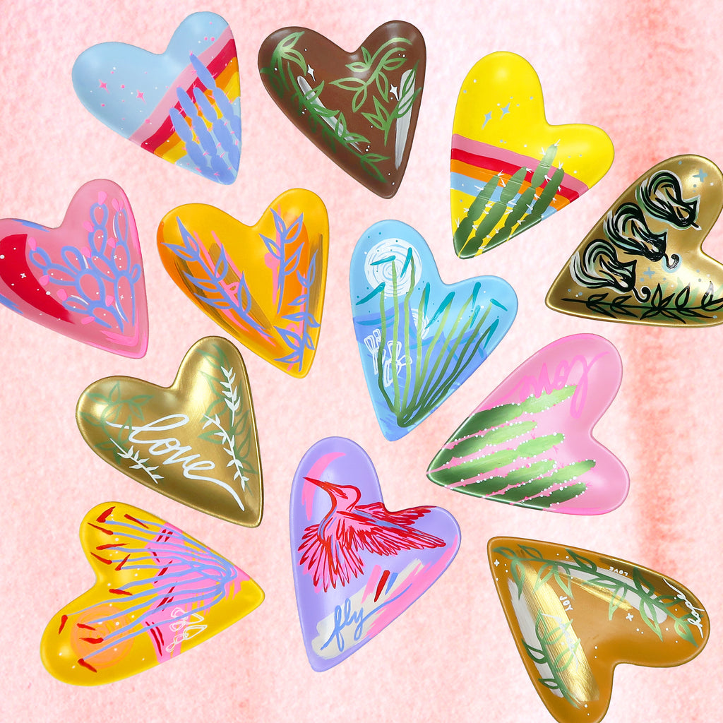 """Shimmers of Love"" Handpainted Ceramic Heart Tray"
