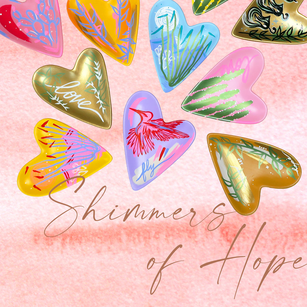"""Flying Hope"" Handpainted Ceramic Heart Tray"