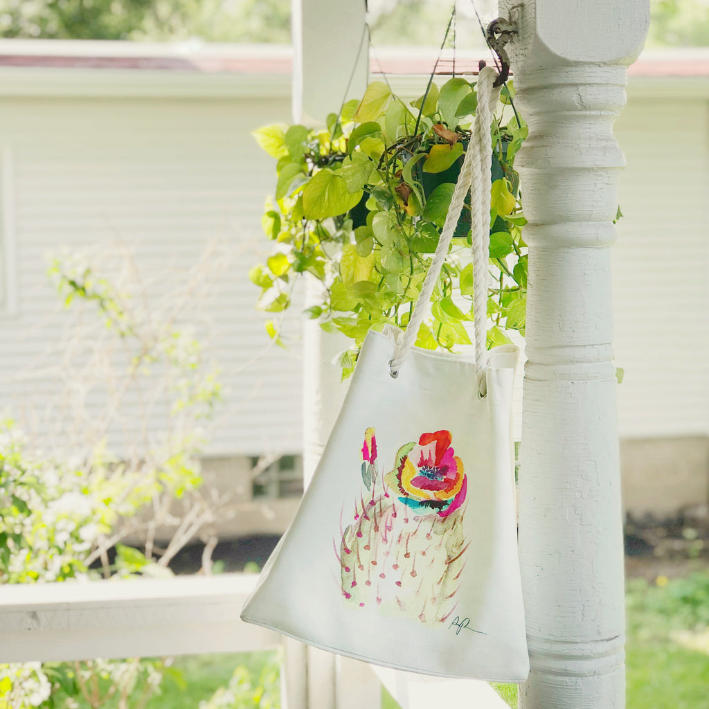 """Technicolor Bloom"" Rope Tote Carryall"