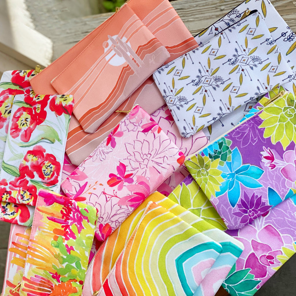 """Technicolor Garden"" Patterned Pouches"