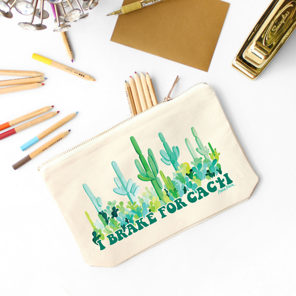 """I Brake for Cacti"" Canvas Pouch"
