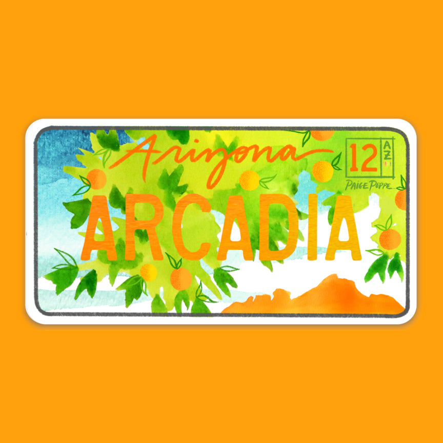"""Arcadia"" License Plate Sticker"